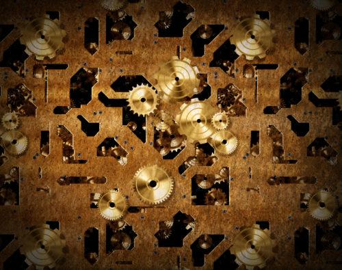 steampunk gold or brass gears texture