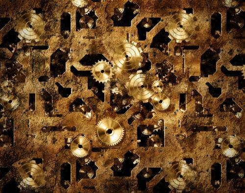 steampunk grunge gold cogs texture