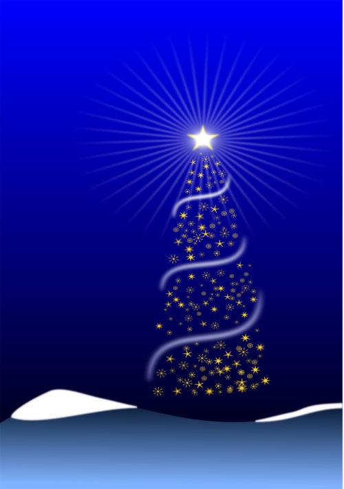 christmas tree card on blue