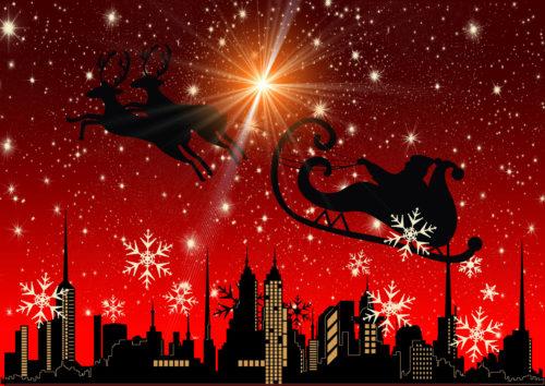 santa claus city and stars