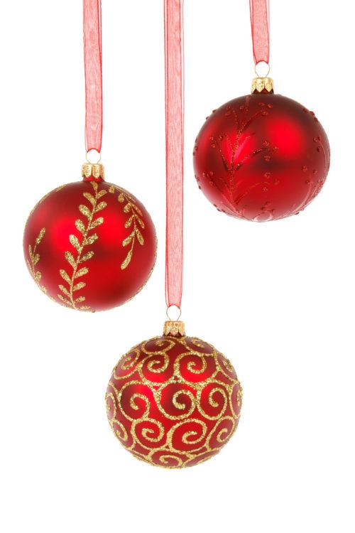 three hanging christmas balls